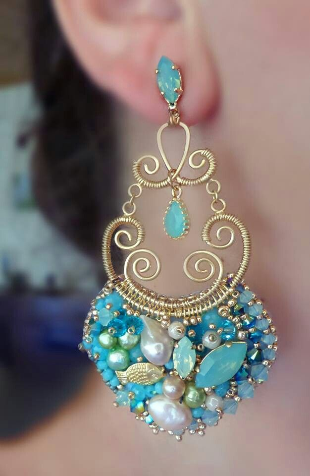 Bead embroidery and wirework earrings by Serena Di Mercione