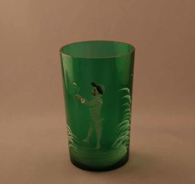 Victorian Mary Gregory Glass Emerald Green Tumbler Boy in White Scene c.1890