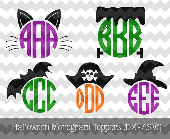 Halloween Monogram Toppers .DXF/.SVG Files for use with your Silhouette Studio Software (witch, frankenstein, cat, bat, pirate)