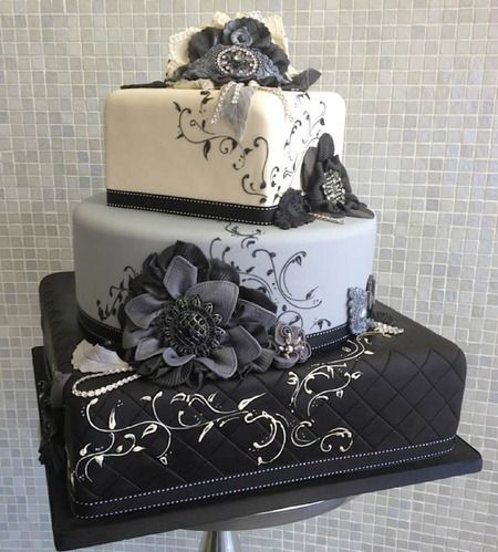 how much ribbon for wedding cake 3 tiered black white and gray cake with quot fabric quot flowers 15521