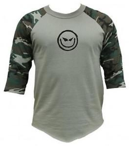 funny 3/4 shirts | NEW-Printed-DEVIL-SMILEY-FACE-3-4-Sleeve-BaseBall-Funny-CAMO-Raglan-T ...