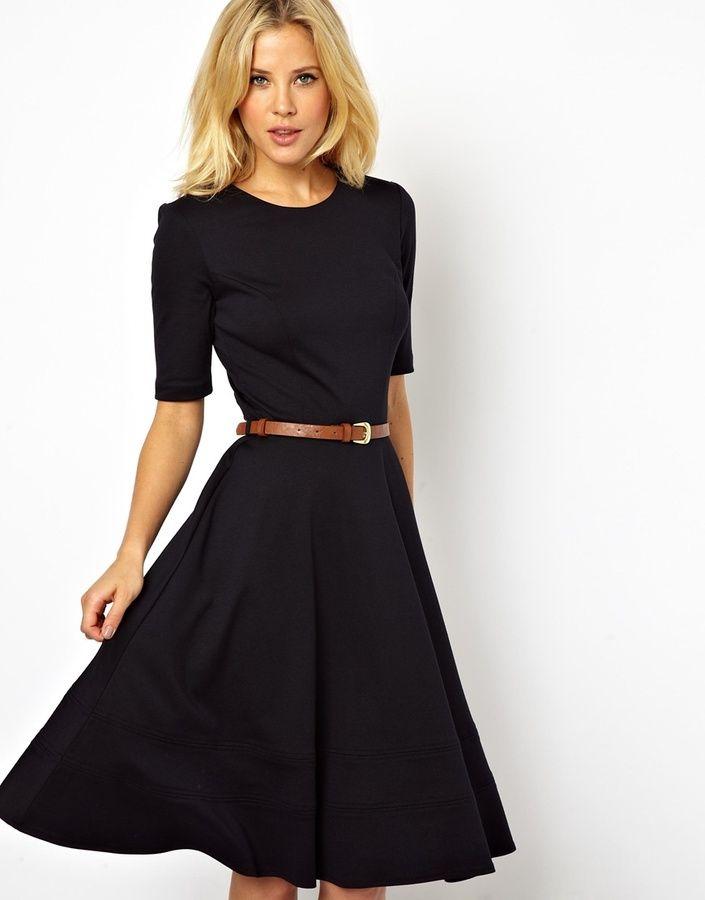 Asos Midi Skater Dress With Half Sleeve on shopstyle.com