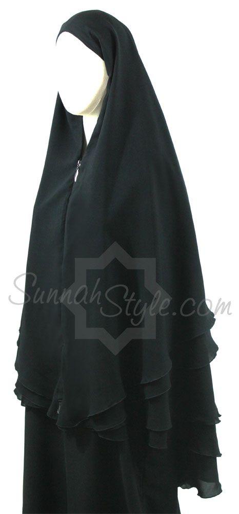 4-Layer Yemeni Khimar (Black) by Sunnah Style #SunnahStyle #hijabstyle #khimar #yemen