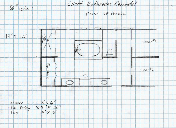 "Drawing of the client's master bath after remodel.  Using preexisting plumbing as much as possible we changed:   ""his"" vanity into shower  ""hers"" vanity, closet #3, and the wall between ""his"" side and the bath area came out.  We kept the tub in the  same place.  We closed off one door  and placed a double vanity along the now unencumbered wall. We kept the toilet,, closets #1,#2,and #4 in their original positions."