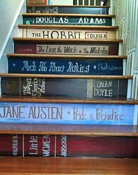 101 of the very best home DIY Decorating Ideas And you might well need a step ladder to do most of them http://www.ladders-online.com/uk/step-ladders.html // Number: 5 \\ Room: Staircase Idea Type: Art Idea Details: Book art work on staircase Other Tools Needed: Paintbrush, paint or decals #diyproject #diyhomedecor #stepladders