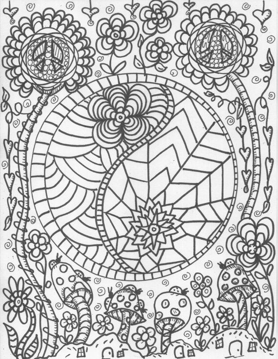 Hippie Custom Coloring Book Pages By DawnCollinsArt