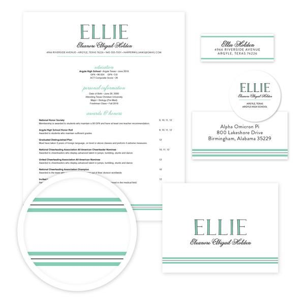 Preppy Name Sorority Packet // Our complete sorority packets include designs for your resume, cover letter, mailing labels, return address labels, personal stickers to label your sorority headshots, and thank you notes—everything you need to gather letters of recommendation for sorority recruitment!  sororitypackets.com