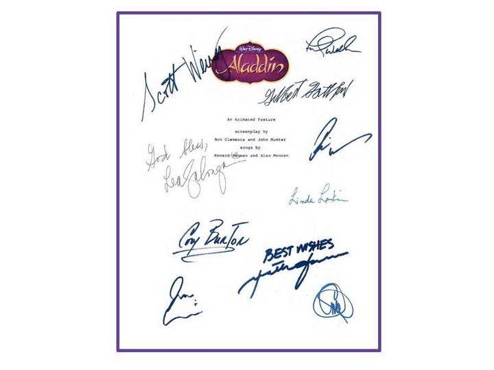 Aladdin 1992 Disney Film Entire Movie Script Signed Screenplay Autographed: Robin Williams, Scott Weinger, Jonathan Freeman, Linda Larkin