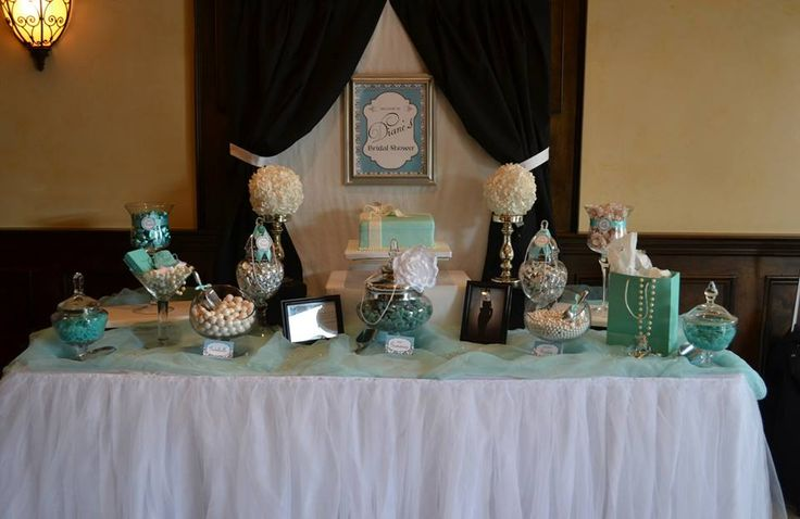 Breakfast at Tiffany's bridal shower candy buffet table ...
