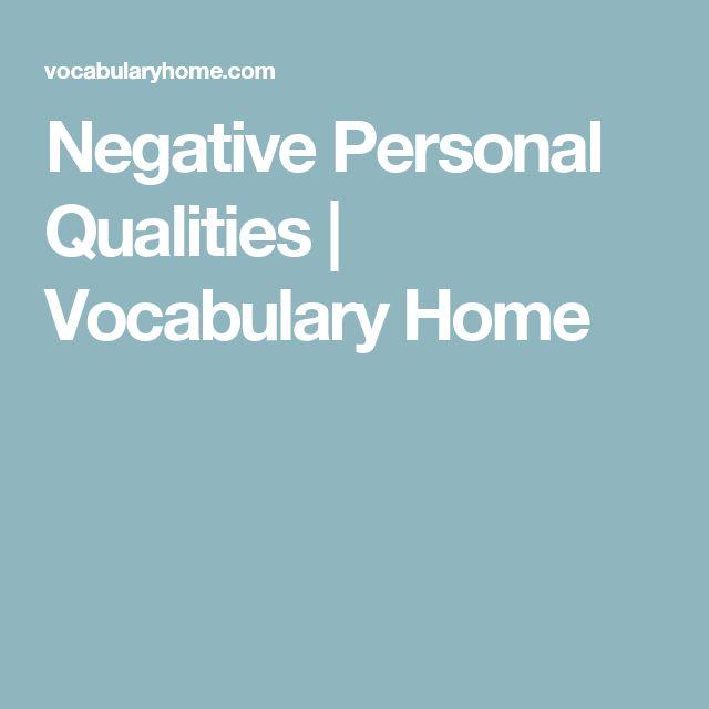 Negative Personal Qualities | Vocabulary Home