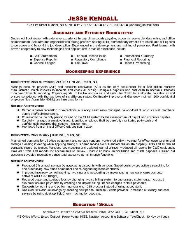 bookkeeper resume