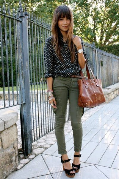 Cute and cool at the same time; polka dot top and khaki trousers