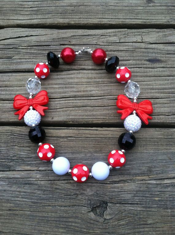 ON SALE Minnie Mouse Red Polka Dot Bow Inspired Chunky Bubblegum Necklace