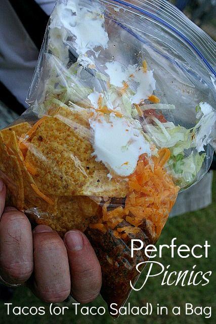 Taco Salad bags!  http://www.aslobcomesclean.com/2012/05/picnic-ideas-taco-salad-bags/?utm_source=feedburner_medium=feed_campaign=Feed%3A+ASlobComesClean+%28A+Slob+Comes+Clean%29_content=Google+Reader