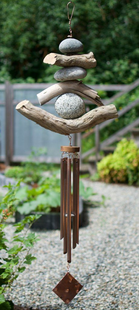 Outdoor Large Copper Beach Stone Driftwood Wind Chimes