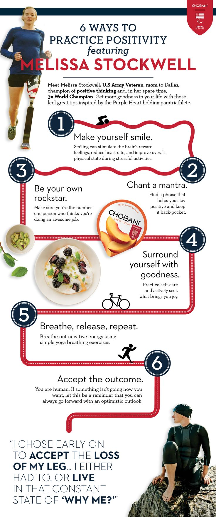 6 Ways to Practicing Positivity with Melissa Stockwell. Get more goodness in your life with these feel-great tips inspired by the Purple Heart-holding paratriathlete.