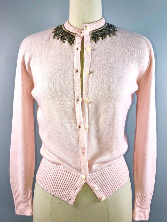 a07d4bec29f 50s Vintage 1950s Pink Beaded Cardigan Sweater Button Down Rockabilly Small