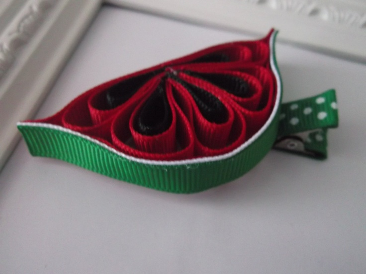 Watermelon Ribbon Sculpture Hair Clip. Watermelon by creationslove,