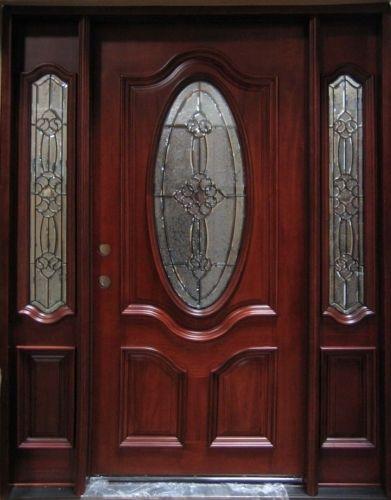 Puerta victoriana de madera maciza de caoba con vidrieras laterales exterior