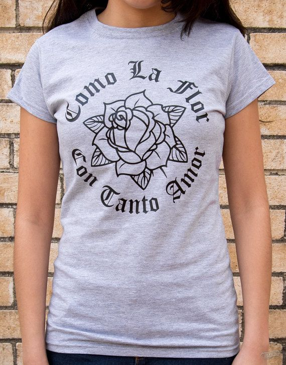 Como La Flor Sprt-Grey Ladies Shirt PLEASE CHECK SIZE CHART Shirts run a little smaller & fitted Black Print on Gildan SoftStyle Ladies T-Shirt 4.5 oz. 100% Ring-spun cotton Taped neck and shoulders Junior fit Side seam construction with stylish tapered cut Slightly adjusted specs Double-needle sleeve & bottom hems Quarter-turned to eliminate center crease
