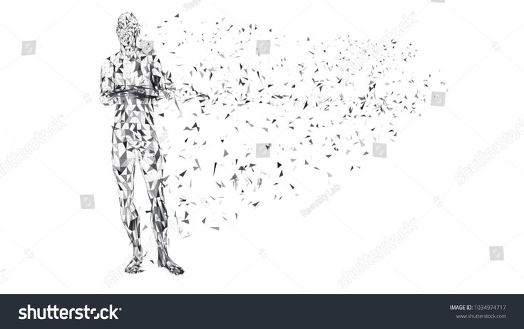 Conceptual abstract man with crossed arms. Connected lines, dots, triangles. Science or technology concept. High technology vector digital background …
