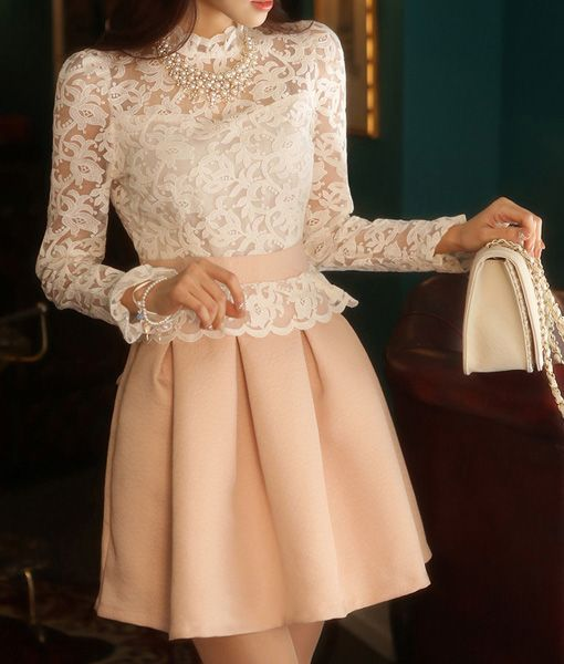 Ladylike Style Lace Splicing Stand Neck Puff Sleeve Color Block Dress For Women (PINK,M) | Sammydress.com