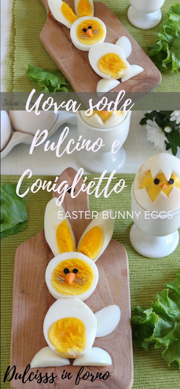 Uova sode a forma di pulcino e coniglietto di Pasqua - Idee per Pasqua - Eggs chick easter - Easter chick deviled eggs - Easter bunny deviled eggs Dulcisss in forno by Leyla