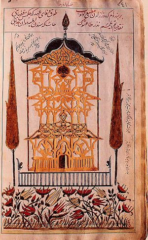 Cut-paper work illustration of a pavilion flanked by cypress trees in a garden filled with tulips and other flowers. The illustration is from an album dated 1687 by the calligrapher Mehemed bin Ahmed Sirozi. Calligraphy album.