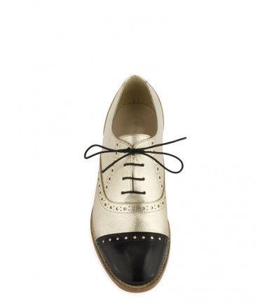 Nouvelle Collection Chaussures en CUIR CHEVRE Or Noir - Derbies Faja Met - Cosmoparis