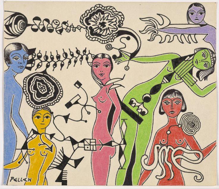 Alfred Pellan, Les mannequins, vers 1946. Encre noir et crayon de couleur sur papier collé sur carton, 17,7 cm x 20,5 cm (papier).