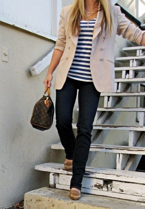 very cute and classy.  Striped shirt, tan blazer and jeans