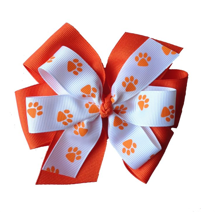 Clemson Extra Large Stacked Paw Print Hair Bow