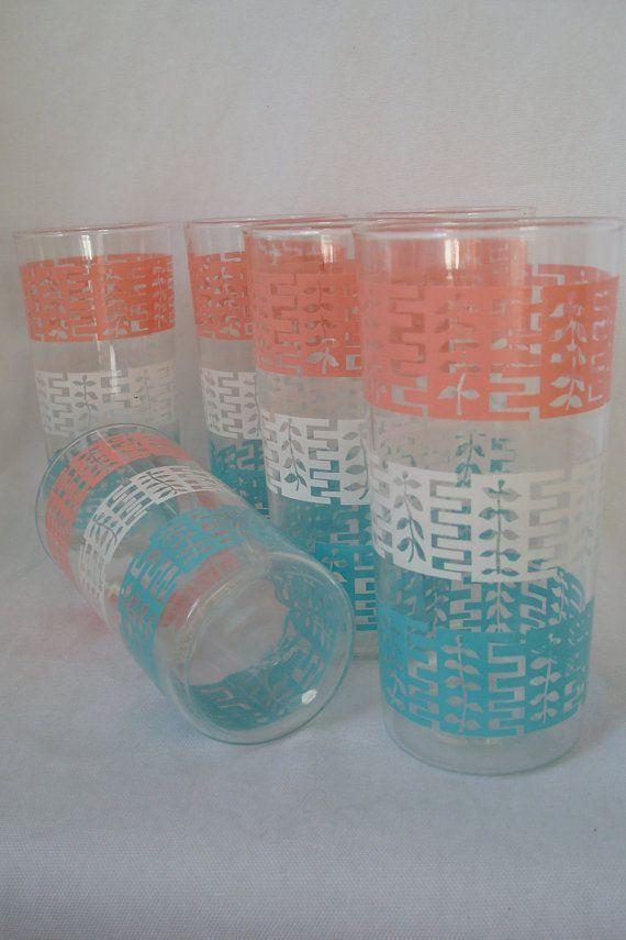 Atomic Glassware // 1950s Glasses // Aqua by PsychandErosVintage, $34.00