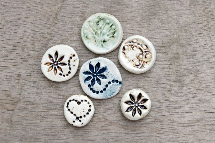 Ceramic cabochon, ceramic pendant, porcelain tesserae, ceramic flower, flower cabochon, tree of life cabochon, ceramic heart by BlackRabbitCeramics on Etsy