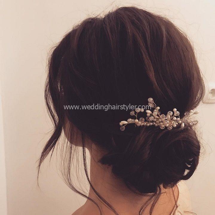 Beautiful Updo Wedding Hairstyle Idea #WeddingHair # Hairstyle #updo #Wedding Updo #Front # Updo