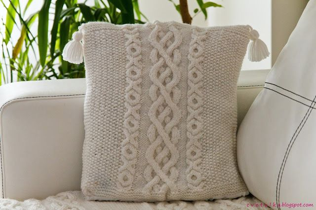 Cabled warm blanket & Pillow | c v e t u l k a knits