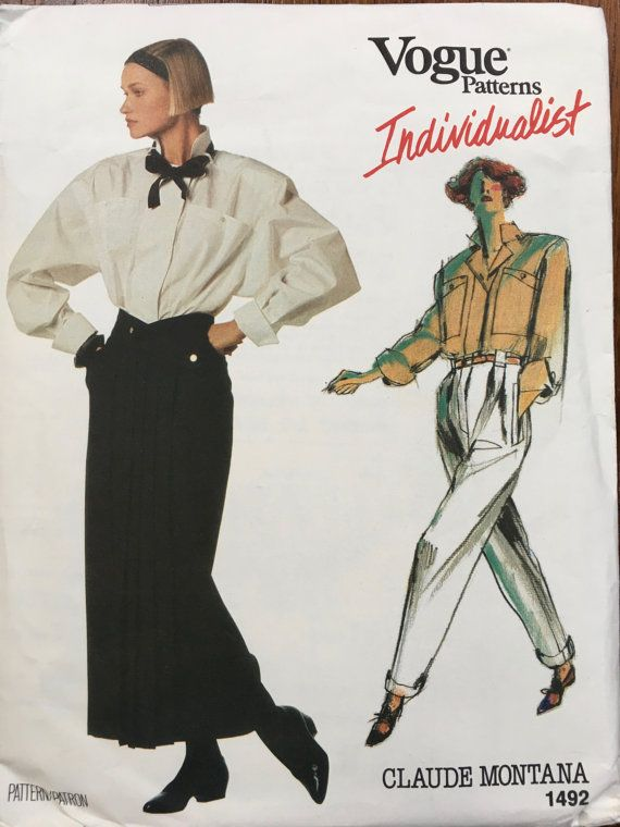 Vogue Individualist 1492 Claude Montana ©1984 stunning blouse skirt pants 12 1980s shoulder pads, power dressing,  Etsy weseatree patterns 1980s