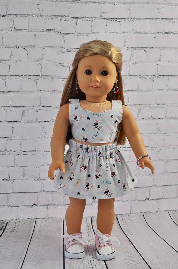 "Stripes /& Hearts Capri Leggings//Stripe Top for 18/"" Doll Clothes American Girl"