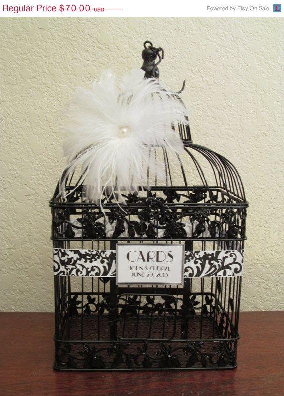 On Sale Art Deco Wedding Card Box Black / by SouthburyTreasures,