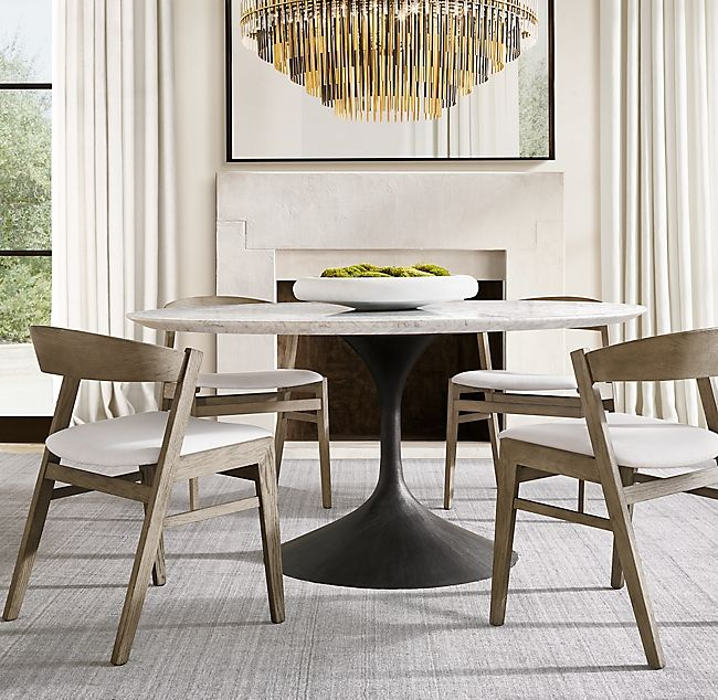60 Table Overall 60 Diam 29 Htop Thickness 1 Base 27 Diam Base Round Marble Dining Table Restoration Hardware Dining Room Interior Design Dining Room