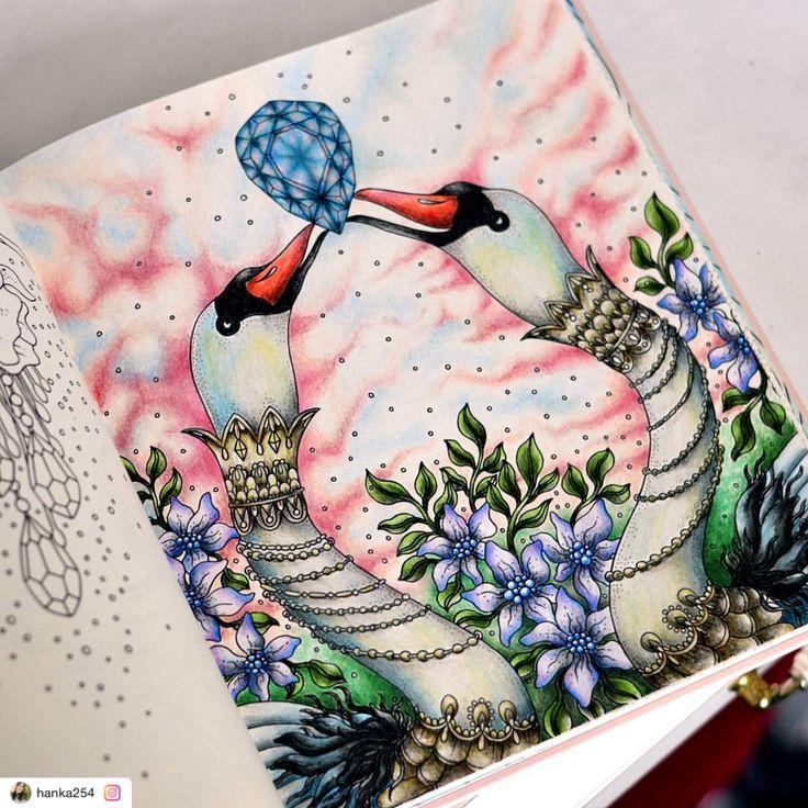 "Reposted using @ziapplications  #ziapplications ・・・ ""#summernights #sommarnatt #sommarnatthannakarlzon #hannakarlzonsummernights #hannakarlzon #coloringbook #coloringforadults #coloringpencils #prismacolor #prismacolorpencils #kredki #kolorowankiantystresowe #kolorowamafia #kolorowankidladorosłych #art #swan"""