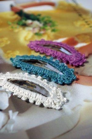 縁編みぱっちんピンの作り方 その他 ファッション小物