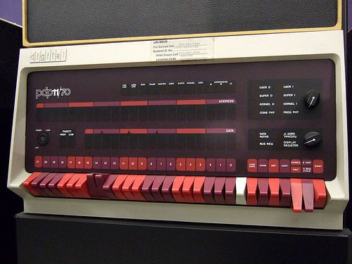 DEC PDP-11.  This baby had to be booted up with the switches and programmed in octal!