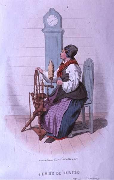 Kvinna i äldre variant av folkdräkt från Järvsö, Hälsingland.