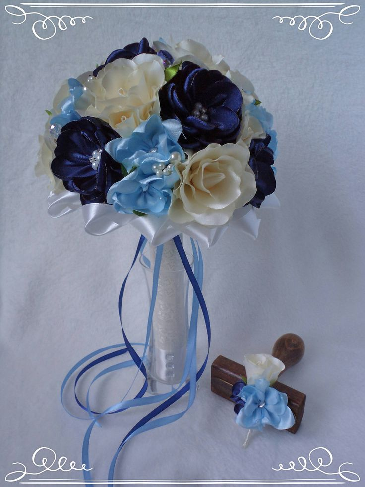 Blue-colored wedding bridal bouquet with rose and fantasy flowers by FonixDecoration on Etsy
