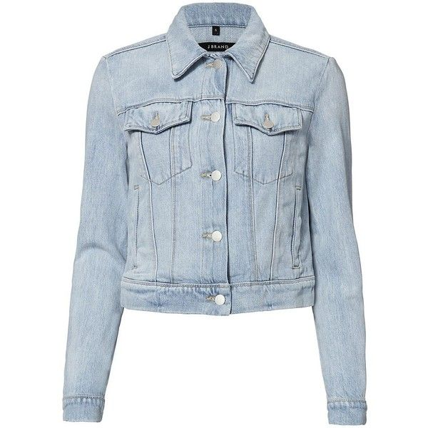 J Brand Women's Harlow Jean Jacket (720 BRL) ❤ liked on Polyvore featuring outerwear, jackets, coats, coats & jackets, denim jacket, denim, long sleeve denim jacket, blue denim jacket, blue cropped jacket and jean jacket