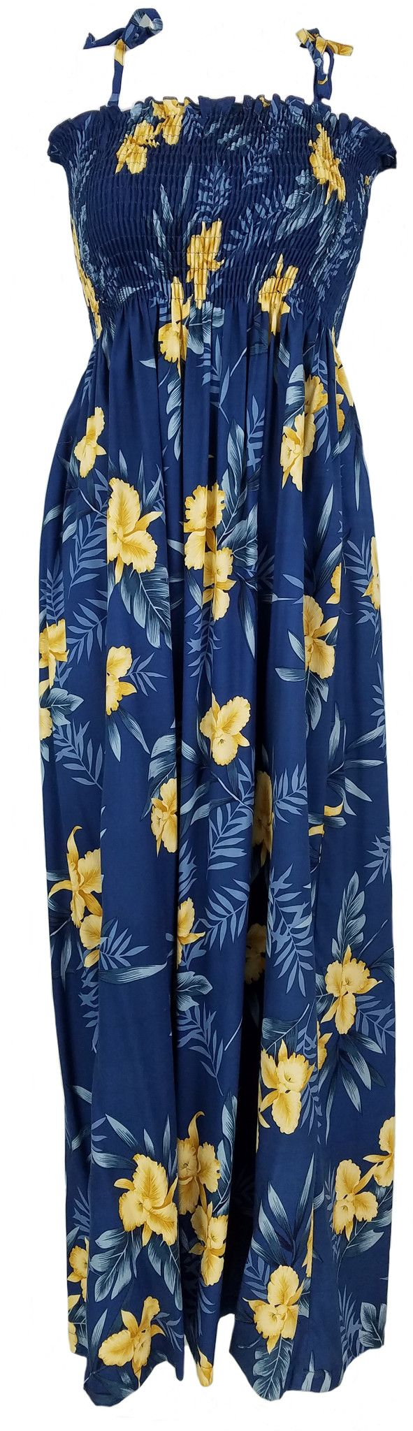 "Tube Top Dress Orchid Fern Blue 45"" Length"