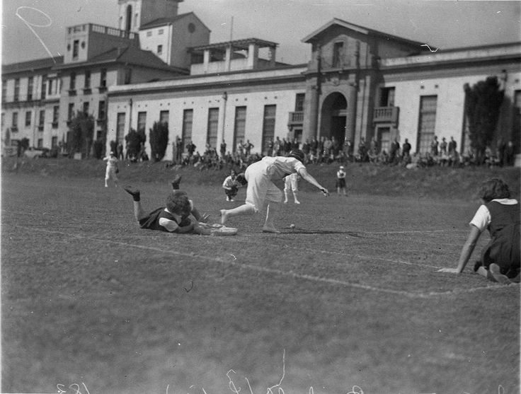 Batswowan gets a homer! Taken from Sam Hood's news photo series, 'Women's interstate baseball played on the University of Sydney's Hockey Field', in about 1932. From the collections of the Mitchell Library, State Library of New South Wales : http://www.acmssearch.sl.nsw.gov.au/search/itemDetailPaged.cgi?itemID=9719
