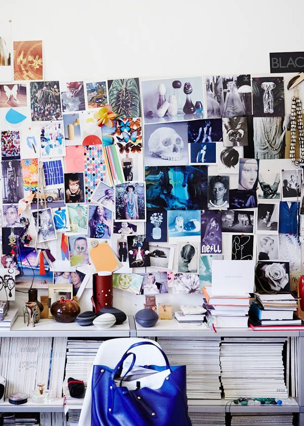 Louise Olsen's pinboard. Photo by Sean Fennessy. Featured on @Matt Valk Chuah Design Files.