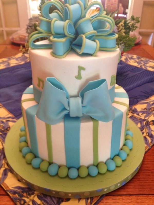 Baby Blue and Green Baby Cake with Musical Notes Stripes